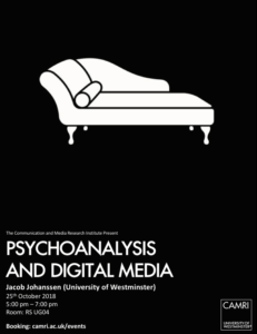 Psychoanalysis and Digital Media @ University of Westminster | England | United Kingdom
