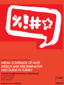 Media Coverage of Hate Speech and Discriminative Discourse in Turkey @ University of Westminster | England | United Kingdom
