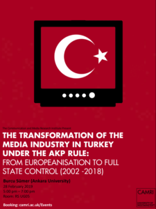 The Transformation of the Media Industry in Turkey Under the AKP Rule: From Europeanisation to Full State Control (2002-2018) @ University of Westminster (Room UG05) | England | United Kingdom