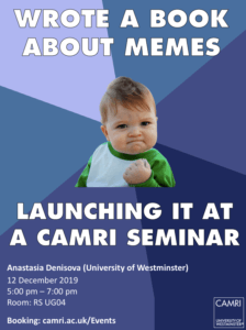 Internet Memes and Society: Social, Cultural and Political Contexts @ University of Westminster (RS UG04) | England | United Kingdom